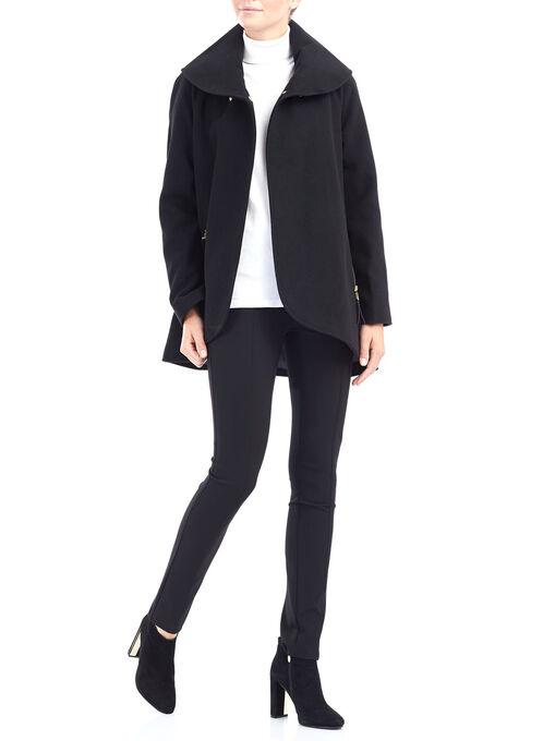 Wool-Like Shawl Collar Jacket , Black, hi-res