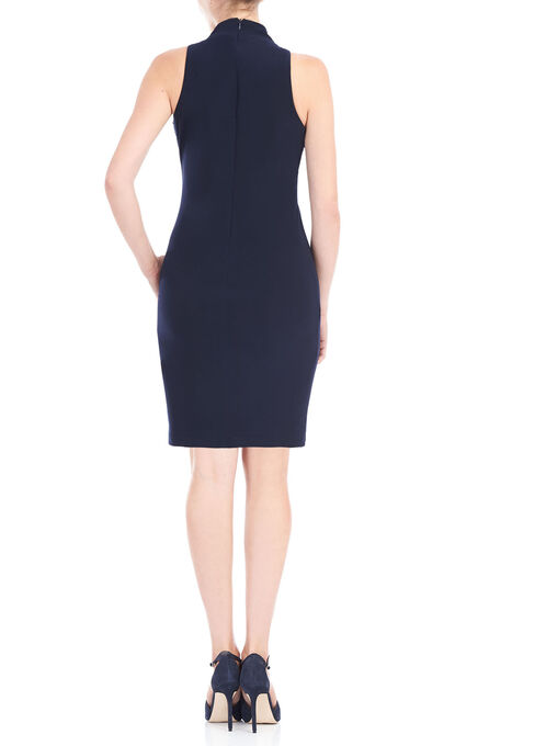 Sleeevless High Neck Beaded Dress, Blue, hi-res