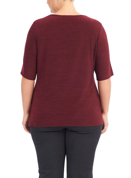 Elbow Sleeve Asymmetric Knit Top, Red, hi-res