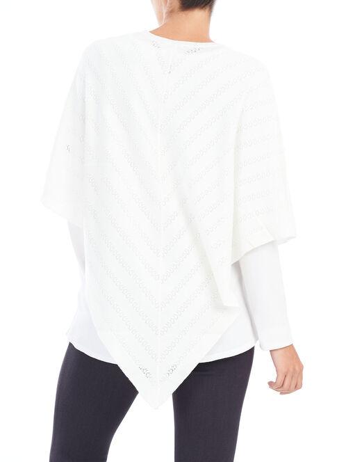 Pointelle V-Neck Knit Poncho, Off White, hi-res