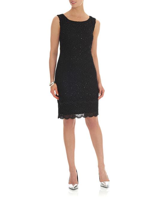 Scalloped Trim Sequined Lace Dress, Black, hi-res