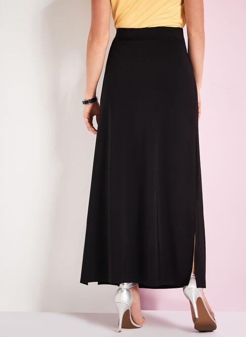 Side Slit Detail Maxi Skirt, Black, hi-res
