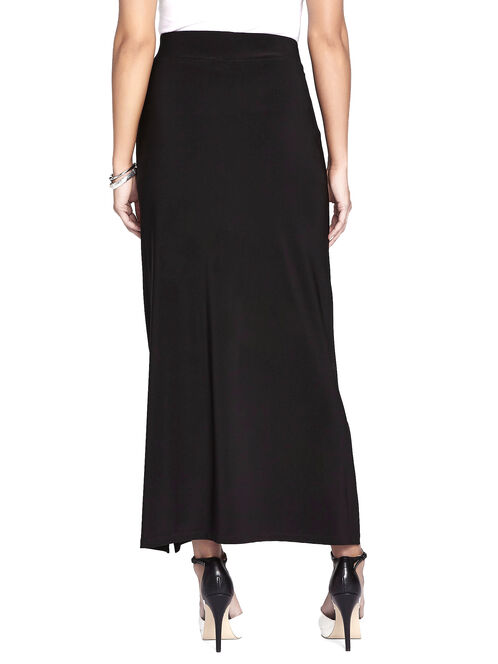 Stretch Side Slit Maxi Skirt, Black, hi-res