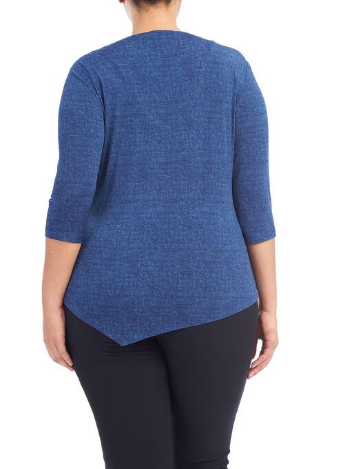 3/4 Sleeve Twist Drape Front Top, Blue, hi-res