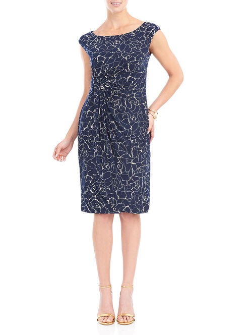 Printed Jersey Cap Sleeve Dress , Blue, hi-res