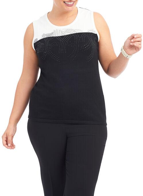 Sleeveless Beaded Knit Top, Black, hi-res