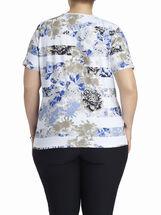 Scoop Neck Floral Print T-Shirt, Blue, hi-res