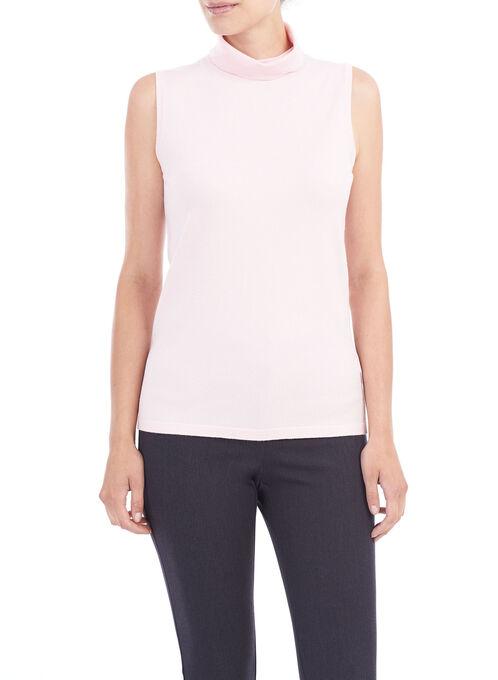 Sleeveless Knit Turtleneck, Pink, hi-res