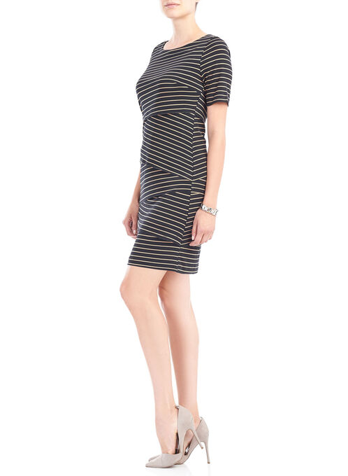 Striped Boat Neck Tiered Dress , Blue, hi-res