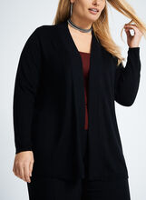 Pointelle Detail Knit Cardigan, Black, hi-res