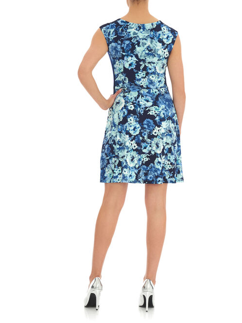 Floral & Solid Fit & Flare Dress, Blue, hi-res