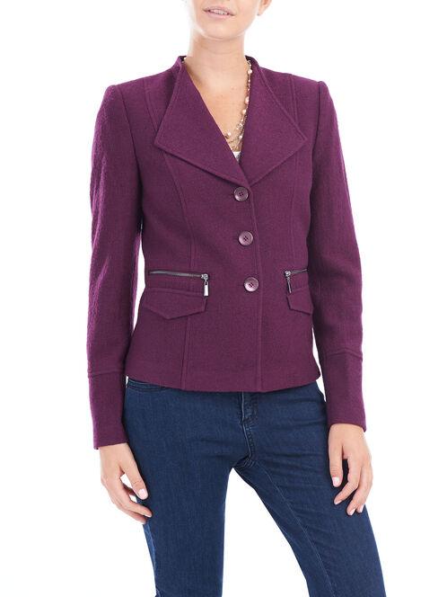 Wool Blend Zipper Trim Jacket, Purple, hi-res