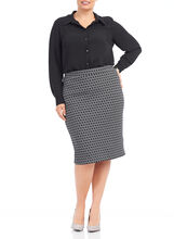 Abstract Print Pull-On Skirt , Black, hi-res
