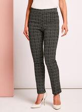 Slim Leg Grid Pattern Pants, Black, hi-res
