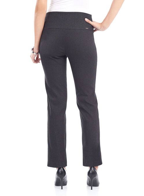 Printed Pull-On Slim Leg Pants , Black, hi-res