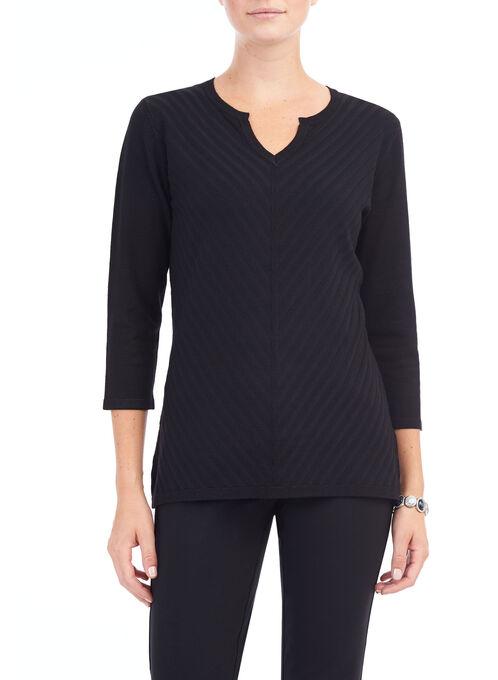 Open V-Neck Mitered Rib Sweater, Black, hi-res