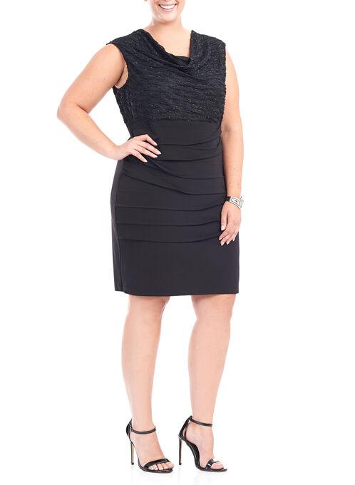 Cowl Neck Eyelash Trim Dress, Black, hi-res