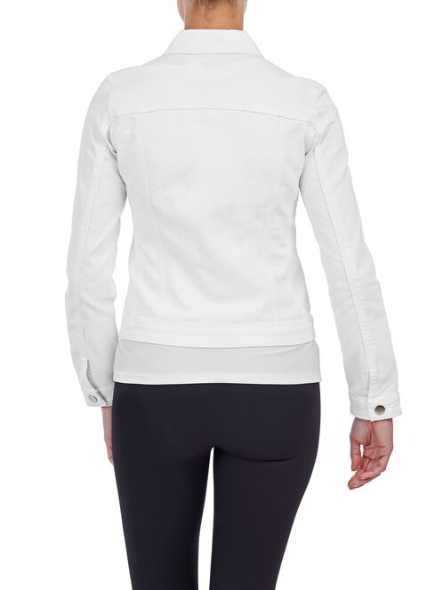 Lace Trim Denim Jacket, White, hi-res