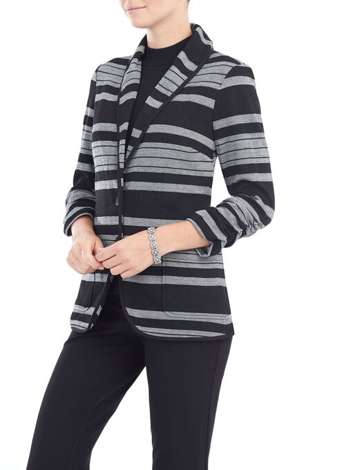 Stripe Print Shawl Collar Blazer, Black, hi-res