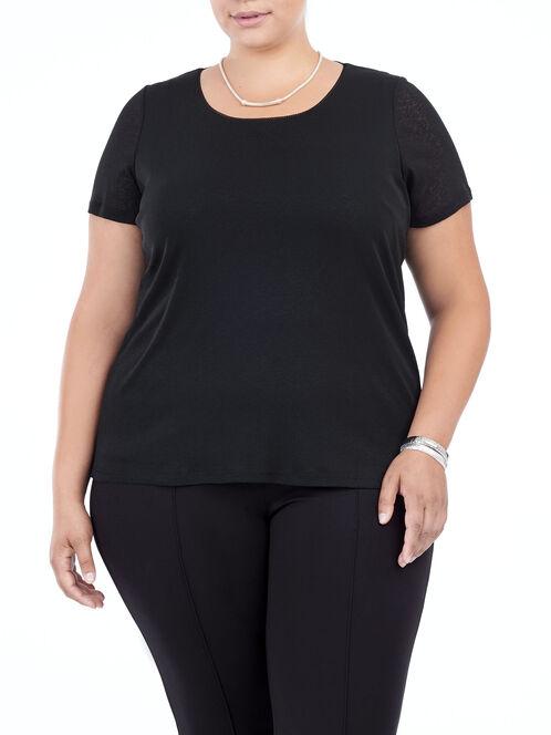 Short Sleeve Layered Trim Top, Black, hi-res