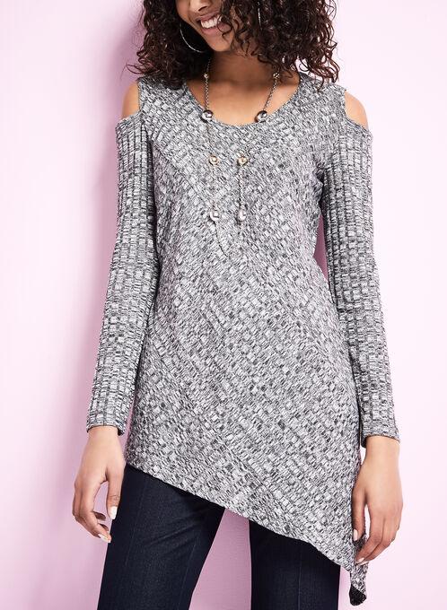 Cold Shoulder Asymmetrical Sweater, Black, hi-res