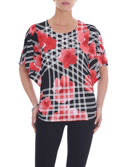 Short Sleeve Printed Ruched Top, Red, hi-res