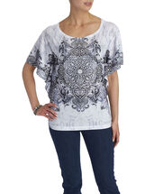 Scoop Neck Sequined T-Shirt, White, hi-res