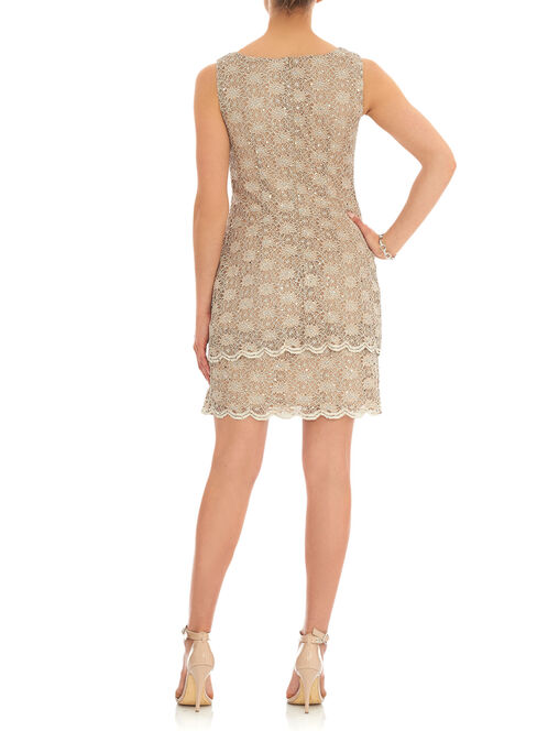 Sleeveless Sequined Lace Dress, Gold, hi-res