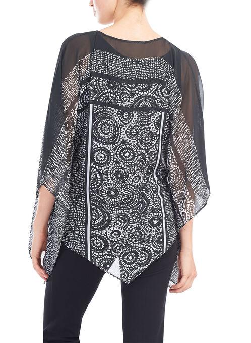 Sheer Floral Print Poncho Blouse , Black, hi-res