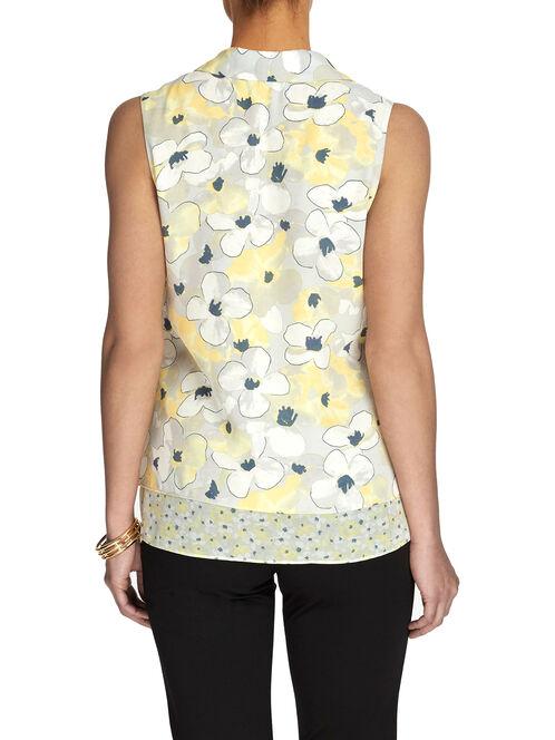 Sleeveless Floral Print Chiffon Blouse, Yellow, hi-res