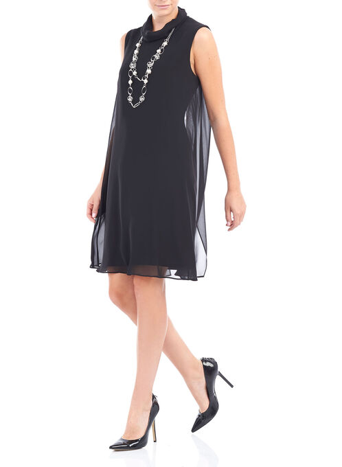Chiffon & Scuba Mock Neck Dress, Black, hi-res