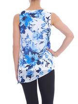 Sleeveless Floral Print Blouse, Blue, hi-res