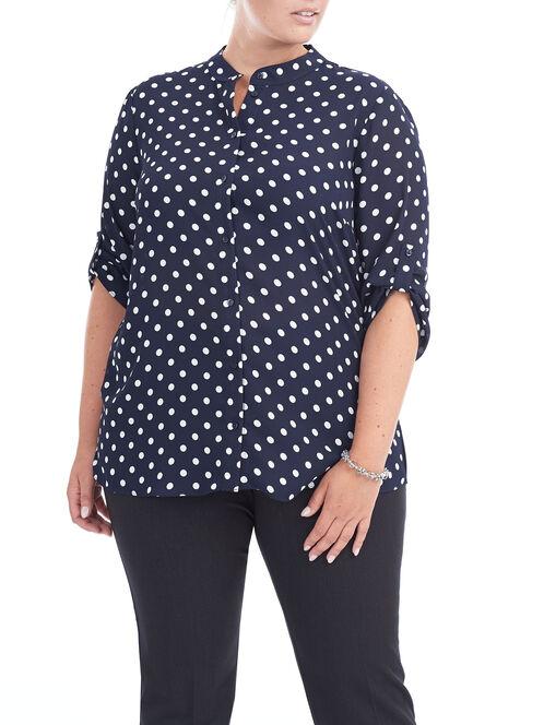 Roll-Up Sleeve Dot Print Blouse , Blue, hi-res