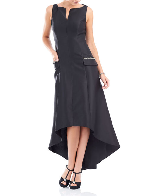 Sleeveless Beaded High-Low Gown , Black, hi-res
