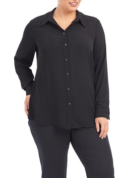 Long Sleeve Button Down Blouse, Black, hi-res