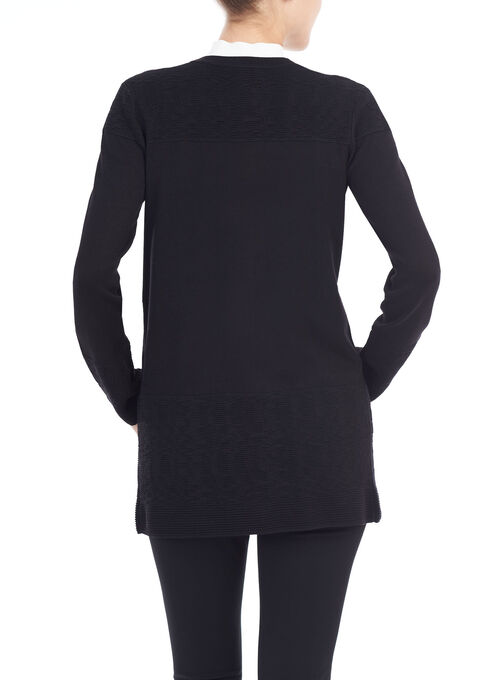 Ribbed Pointelle Cardigan, Black, hi-res