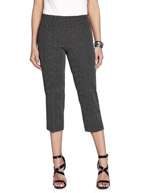 Up! Dot Print Tummy Control Capri Pants, Black, hi-res