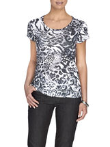 Printed Scoop Neck T-Shirt , Black, hi-res
