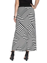 Patchwork Striped Maxi Skirt, Black, hi-res