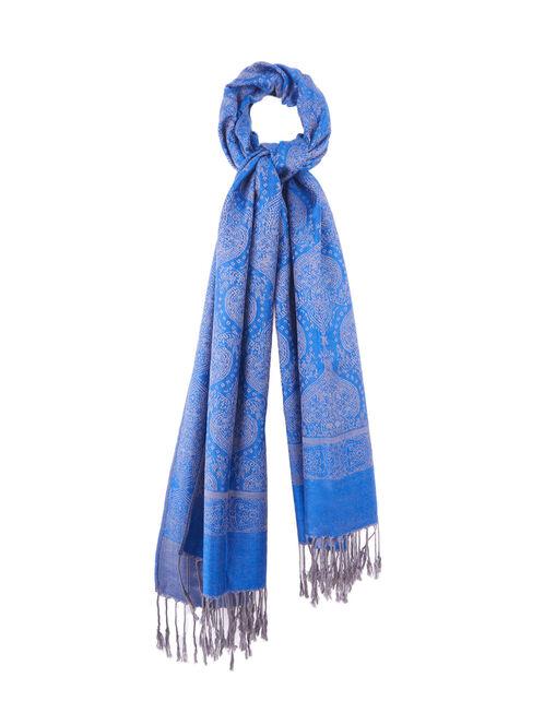 Jacquard Pashmina Scarf, Blue, hi-res