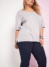 Elbow Sleeve Knit Crew Neck Top, Grey, hi-res