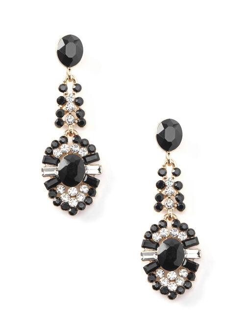 Crystal Chandelier Earrings , Black, hi-res