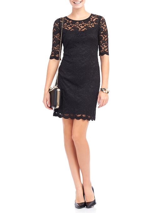 3/4 Sleeve Lace Dress, Black, hi-res