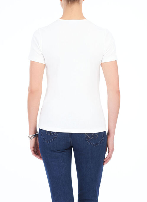 Printed Sequined Trim T-Shirt, Off White, hi-res