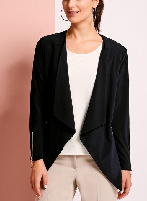 Solid Zipper Detail Jacket, Blue, hi-res