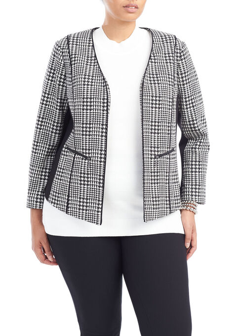 Houndstooth Collarless Jacket, Black, hi-res
