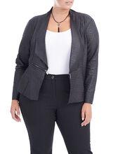 Faux Suede Zipper Detail Jacket, Black, hi-res