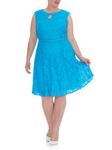 Sleeveless Lace Fit & Flare Dress, Blue, hi-res