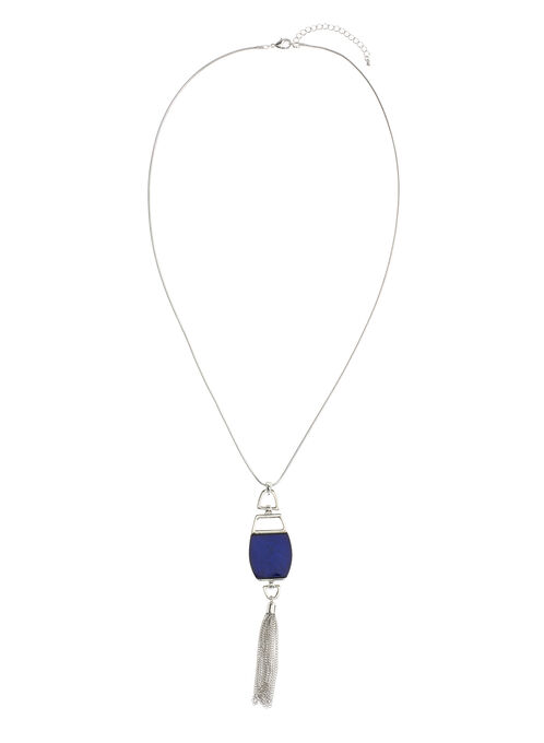 Geometric Chain Tassel Necklace, Blue, hi-res