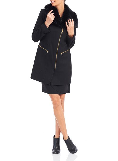 Via Spiga Faux Fur Wool Coat , Black, hi-res